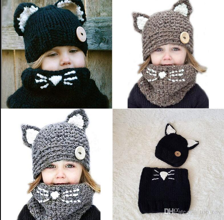 c9365a6a55f 2019 Baby Toddler Winter Cat Ears Warm Hat Scarf Set Knitted Cap