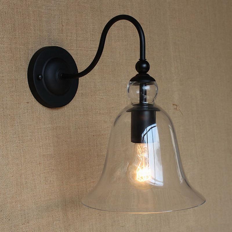 Applique murale vintage éclairage lampe de mur en verre clair pour salle à  manger salon allée lit balcon café bougeoir luminaire