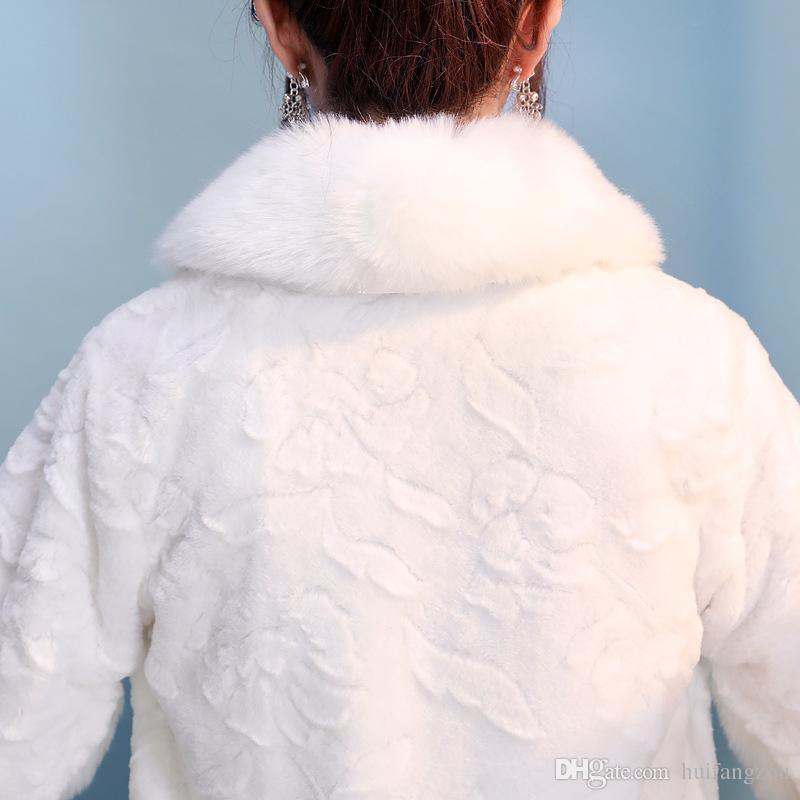 Warehouse Wedding Fur Wraps economici formato libero maniche lunghe inverno bianco rosso pelliccia sintetica la sposa perline caldo freddo protezione scialli nuziali