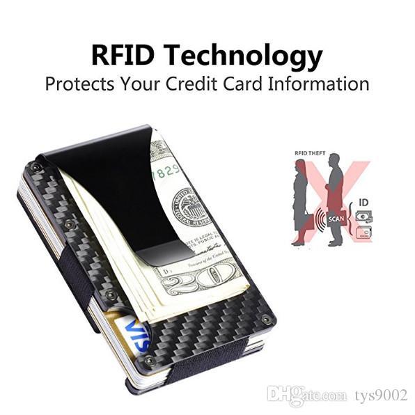 محفظة من ألياف الكربون بطاقة حامل المال كليب ، 2019 إصدار جديد RFID حجب رجل سليم حامل بطاقة الهوية التجارية للرجال توفير OEM