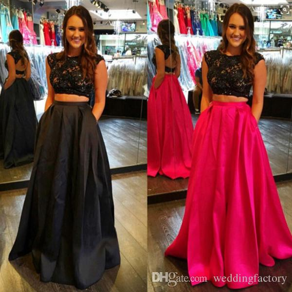 9c0caa41c14 Popular 2016 Black Prom Dresses Long Two Pieces Evening Party Gowns Beaded Black  Lace Appliques Crop Top Open Back Long Skirt With Pocket Plus Size Prom ...
