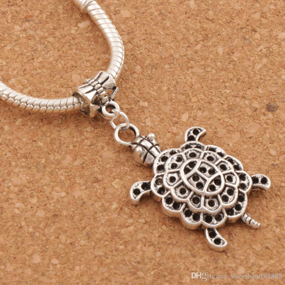 994a3d94b Sea Tortoise Turtle Animal Big Hole Beads Antique Silver Fit European  Bracelets Jewelry DIY B1181 44.5x21.3mm Beads Tortoise Turtle Big Hole Beads  Online ...