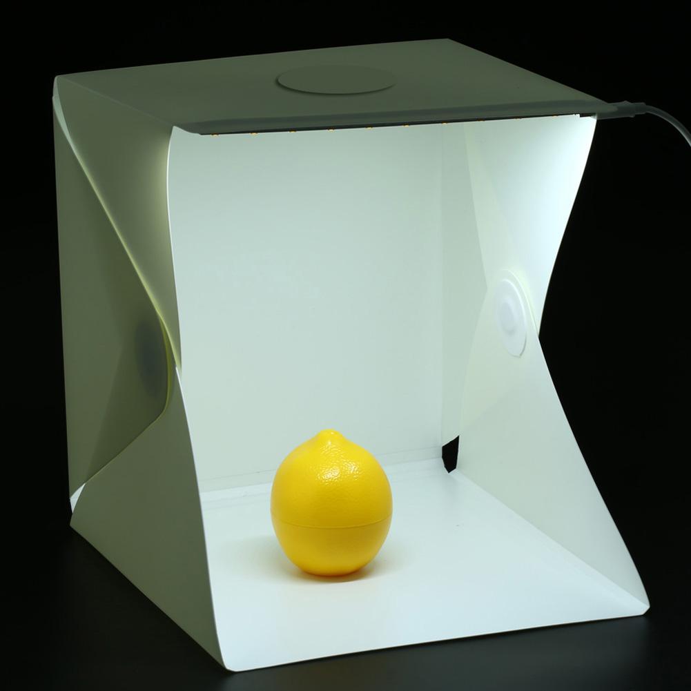 Freeshipping El más nuevo Mini portátil de estudio fotográfico Telón de fondo de la fotografía Luz de la foto incorporada Diseño plegable