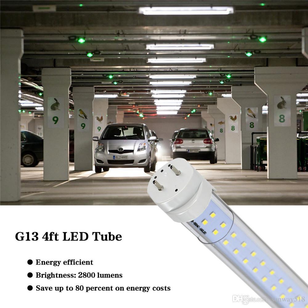 Сток в США + 4FT LED TUBE 22W 28W Теплый прохладный белый 1200 мм 4FT SMD2835 96 шт. 192 шт. Супер яркие светодиодные флуоресцентные лампы AC85-265V UL