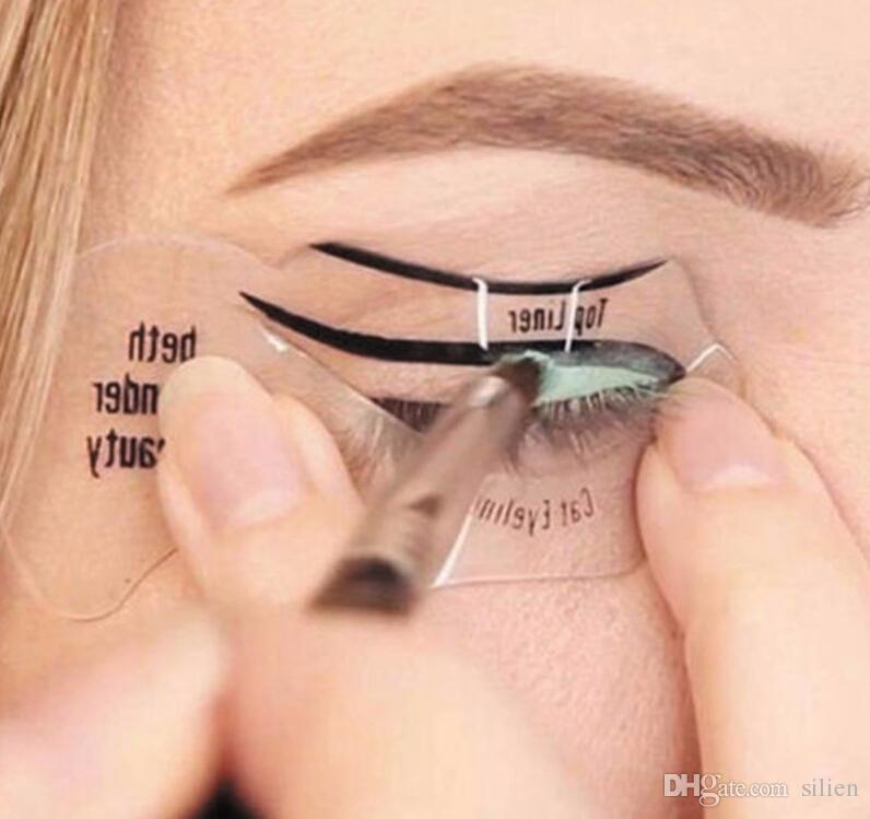 Envío Gratis 110 Unids Belleza Gato Eyeliner Modelos Smokey Eye Plantilla Plantilla Shaper Eyeliner Herramienta de Maquillaje