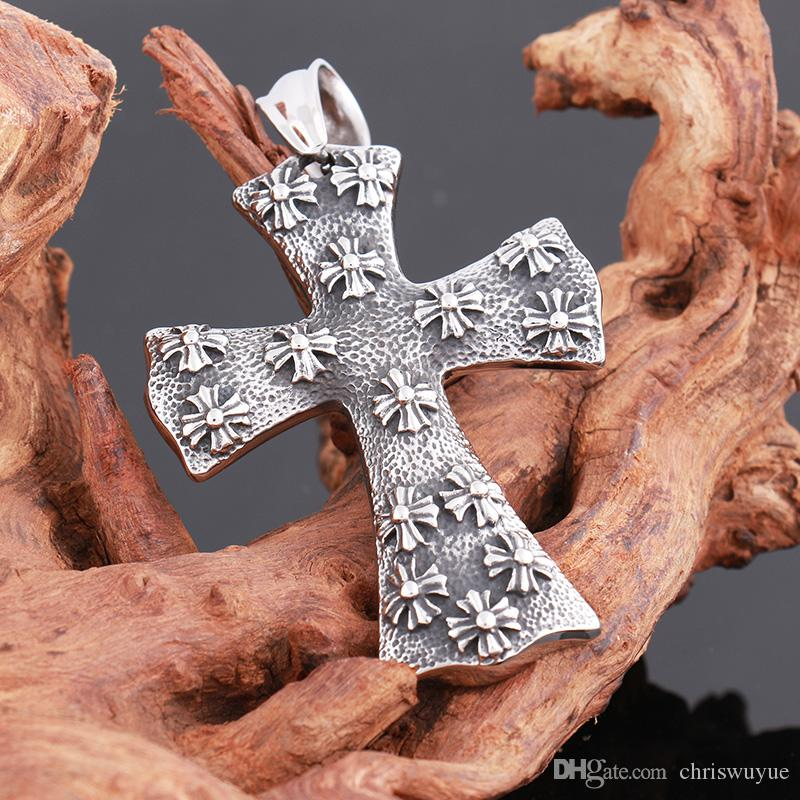Fashion New Arrival 316L Retro Crow Heart Cross Tag Pendant Stainless Steel Necklace designer jewelry pendants