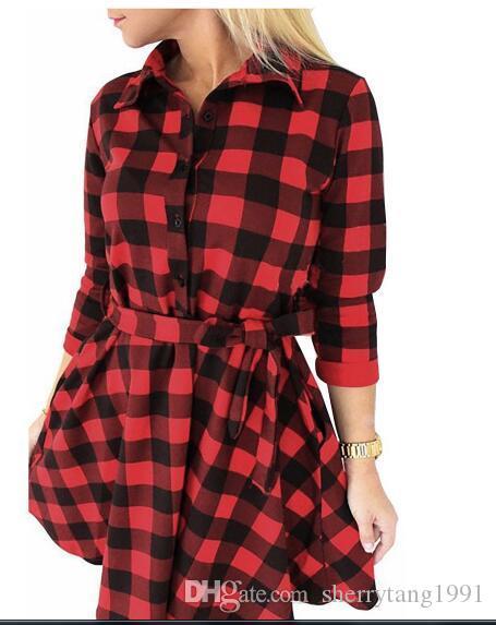 Autumn and winter casual T shirt dress women black white red plaid shirt dress female long sleeves T shirt dresses