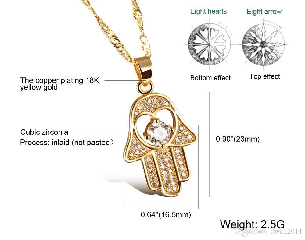 Fatima Hand Anhänger Halsketten Antikes Gelbes Gold / Platin Überzog Frauen Man Religiöse Hot Fashion Hamsa Hand Schmuck