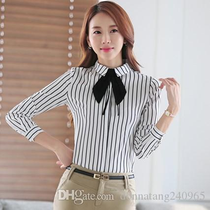 f453efb3c9 Women Tie Neck Stripe Blouse 2016 New Casual Women's BRAND Long Sleeved  Shirt Slim Woman Of Shirts Excellent Quality S-XXXXL Blusas Office
