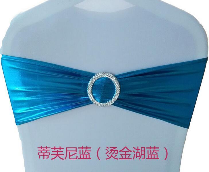 Spandex Lycra Wedding Chair Cover Sash Bands Wedding Party Birthday Banquet Chair Decoration Bronzing Elastic Bow Sashes
