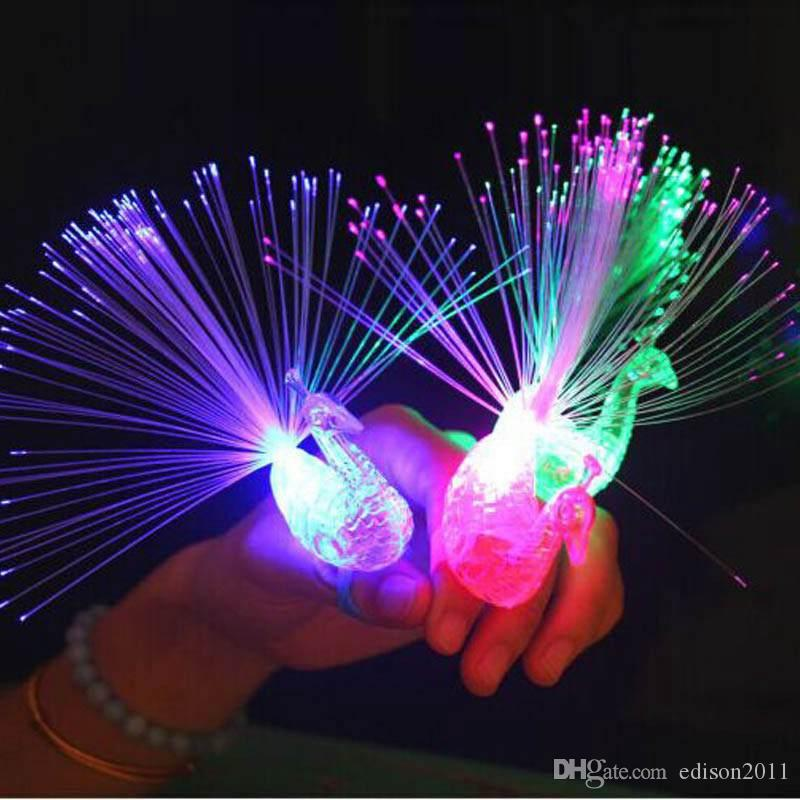 Edison2011 HOT! LED Peacock Fiber Finger Light Beam Torch Rings For Party Nightclub Party Hallowmas Wedding Halloween Christmas Free Ship