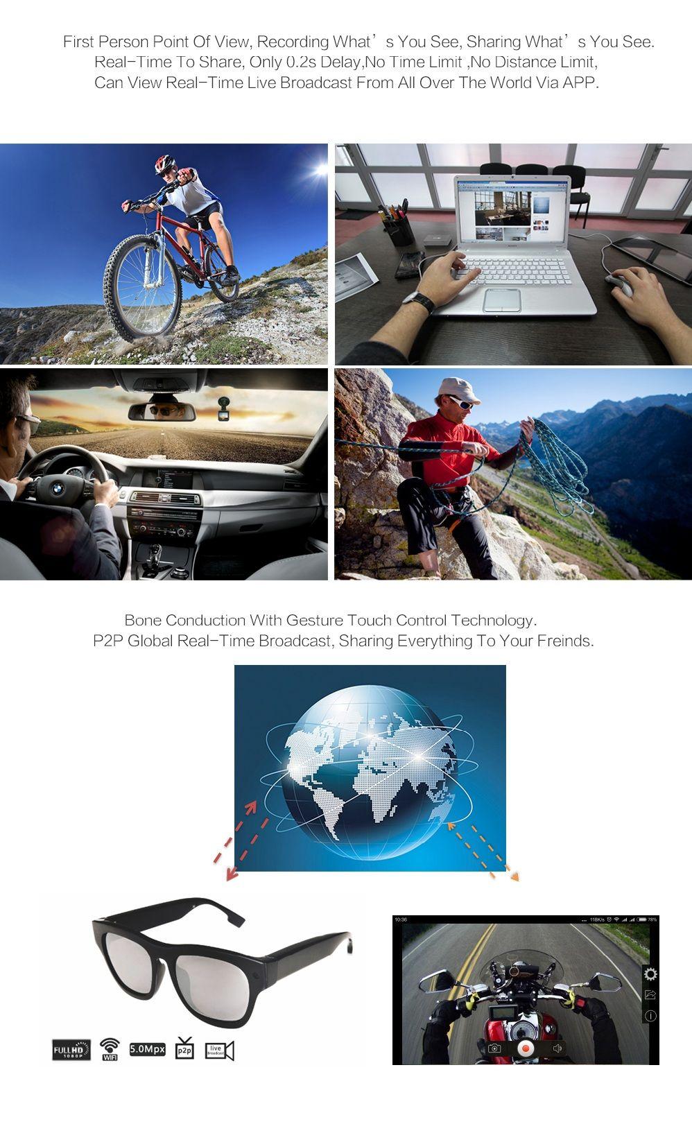 2016 smart live glasses full HD 1080P WIFI Glasses Live Cam G-003 Two way Audio+Bone Conduction