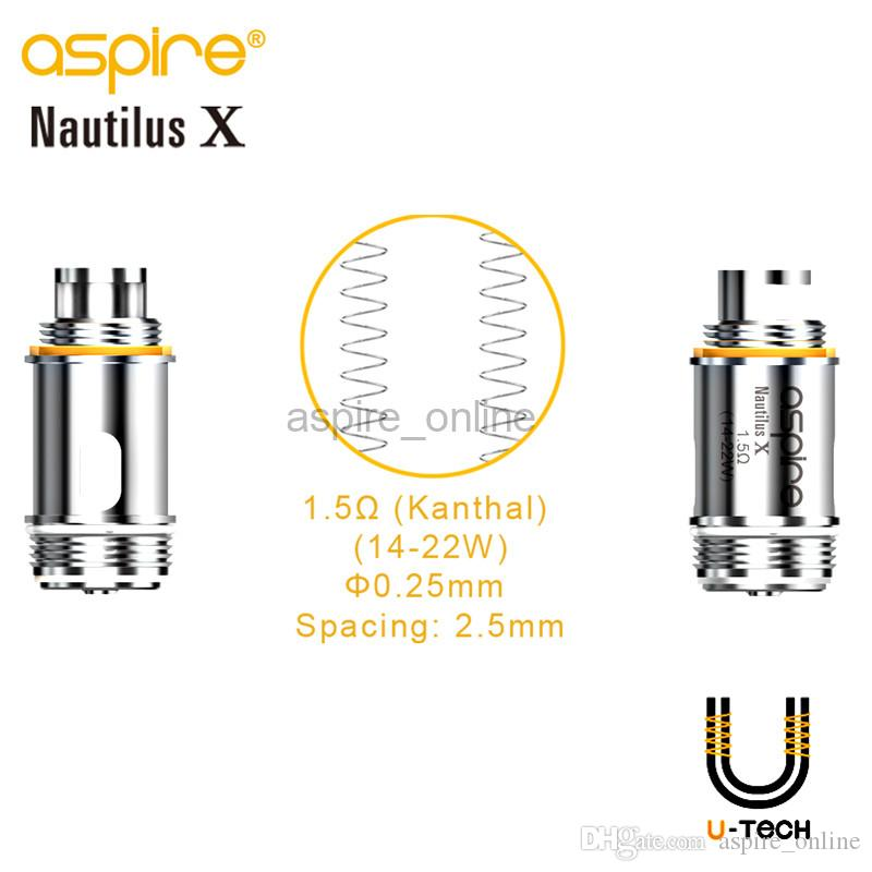 100% Genuine Aspire Nautilus X Atomizer 2ML Pyrex Tube 1.5ohm U-Tech Coils Adjustable Top-Airflow Nautilus X