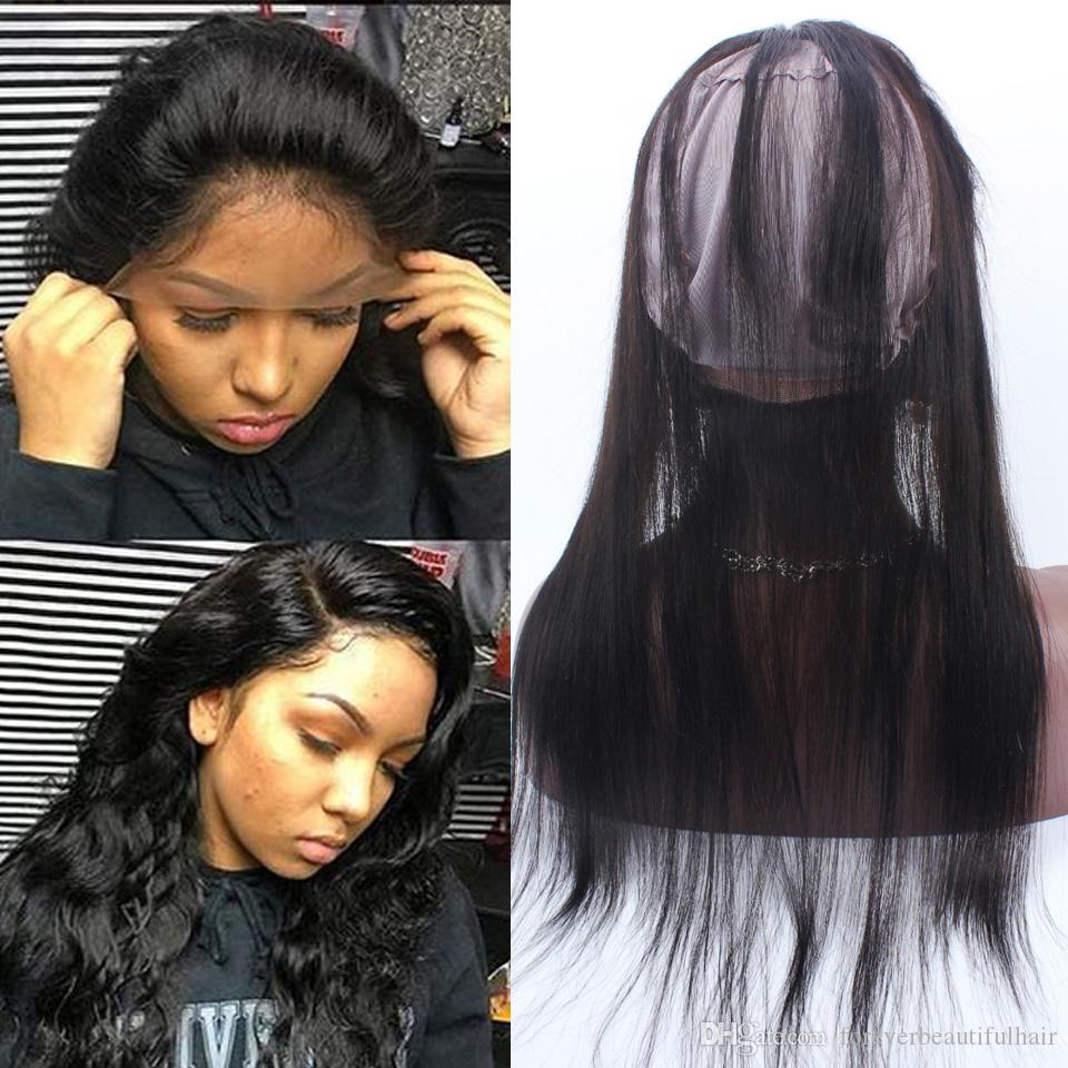 Pre Plucked 360 Lace Frontal With Wig Cap Peruvian Straight Hair