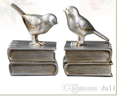 craft LUCKY European style Bookcase study ornaments retro bird Bookends creative bookshelf Decor Book Home Furnishing bookend American