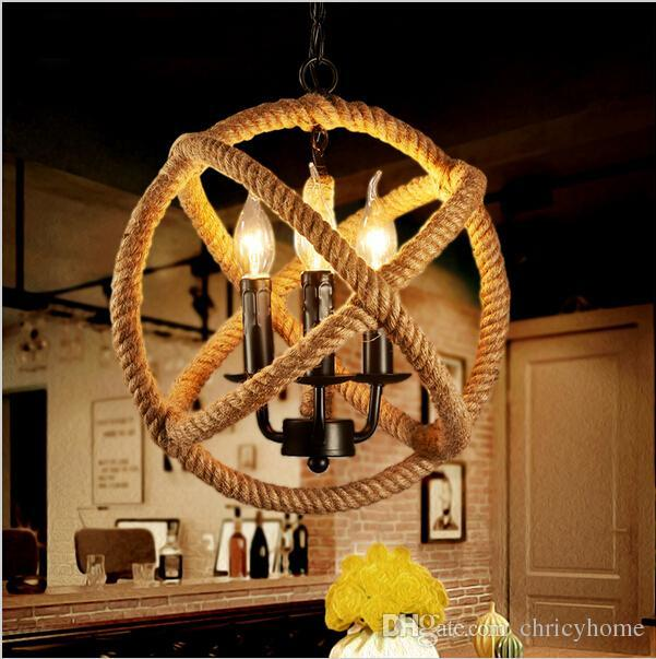 Mordern rope Retro pendant lights Edison Lights fixtures lustre industriel iron Loft Antique DIY E27 Art Spider Ceiling Lamp
