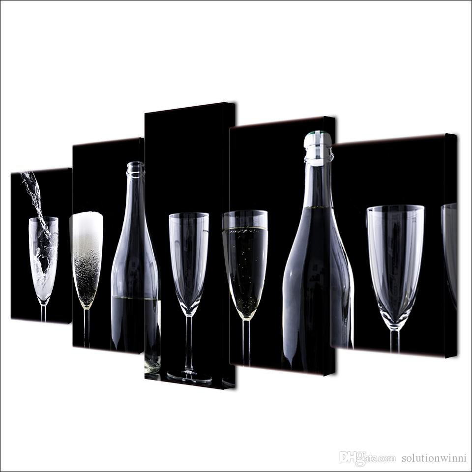 Impreso Negro Blanco Botellas Botellas de arte Cartel Cartel Moderno Decoración de la pared Decoración de la lona Arte HD Pintura de impresión