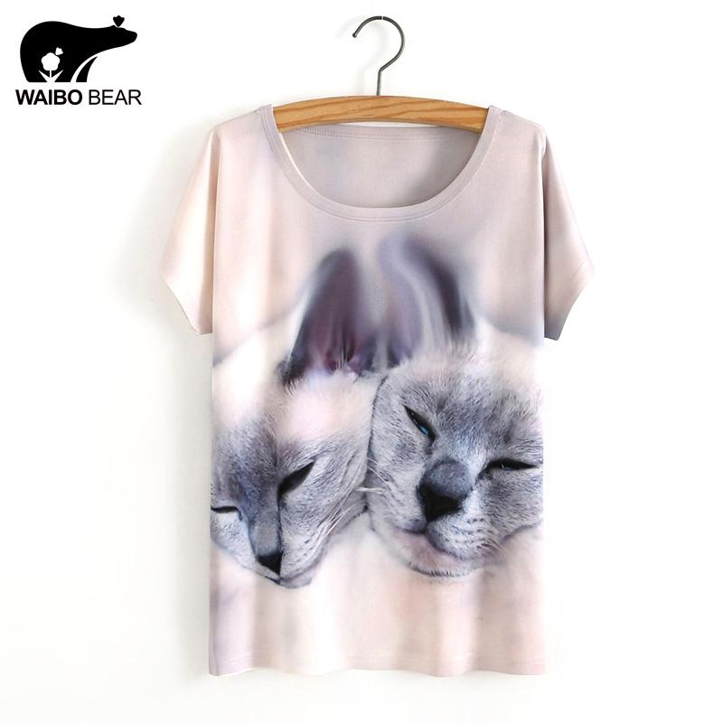 090d66df444a Wholesale Hot Sale One Size Loose Short Batwing Sleeve Women S T Shirt Cute  Cat Printed Tees Women T Shirt Animal Print Cotton Tops But T Shirts T  Shirts ...