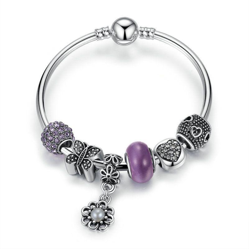 a965f3a6c402 El más nuevo Pandora Style Beaded Charm Pulseras con encantos de mariposa  Purple CZ Sun Flower Pearl cuelga DIY Brazalete pulseras BL214
