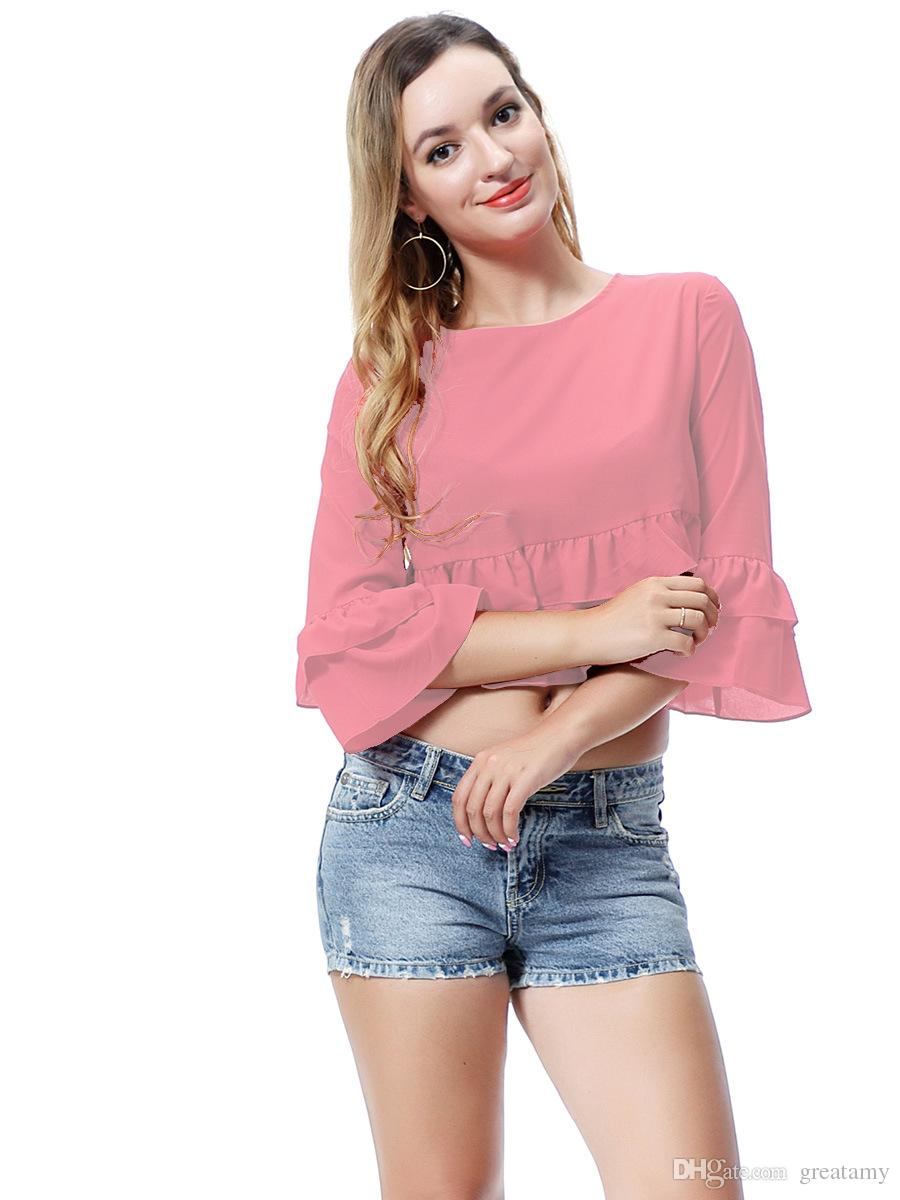solid pure color boat neck women's T-shirt flouncing girls fashion casual tank top lady top tees