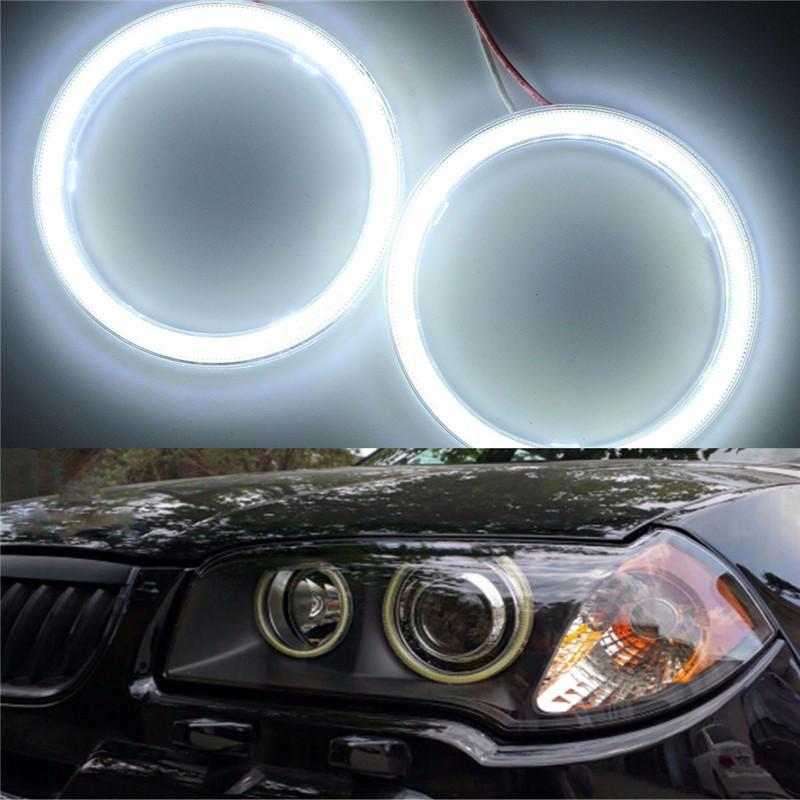 Universel 2x COB 70/100 / 120mm Led Auto Halo Anneaux Angel Eye COB Puces Phare 12 v Voiture Ange Yeux Moto