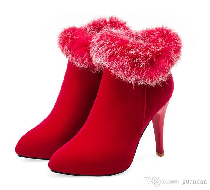 Sexy Women Boots Winter High Heels Ankle Boots Shoes Women Fall Ladies Short Boots Snow Fur Zip White Red Big Size 11