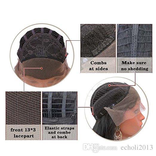 Afrika kökenli Amerikalı peruk doku Yacied Düz 360 Frontal İnsan Saç HD Pre Pretted Ön Dantel Peruk Işık Yaki Siyah Kadınlar Için 14 inç