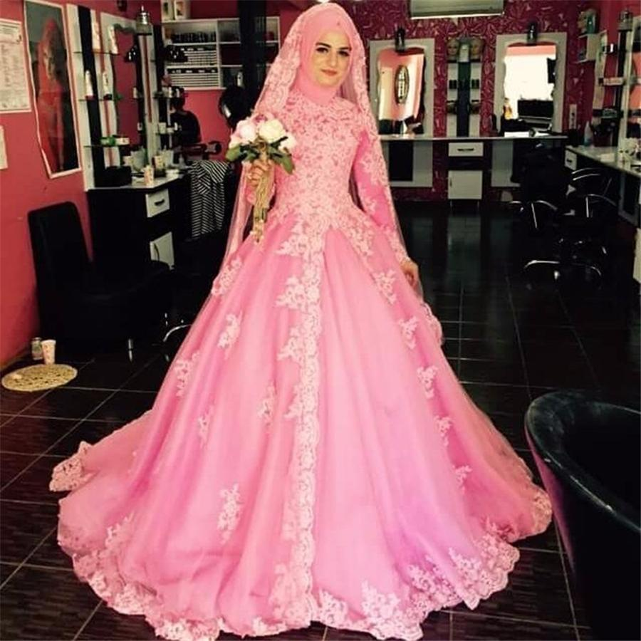 Long Sleeves Muslim Wedding Dress Pink High Neck Appliqued Tulle Bridal Gown Middle East Arabic Bride Dresses With Color Big Ball