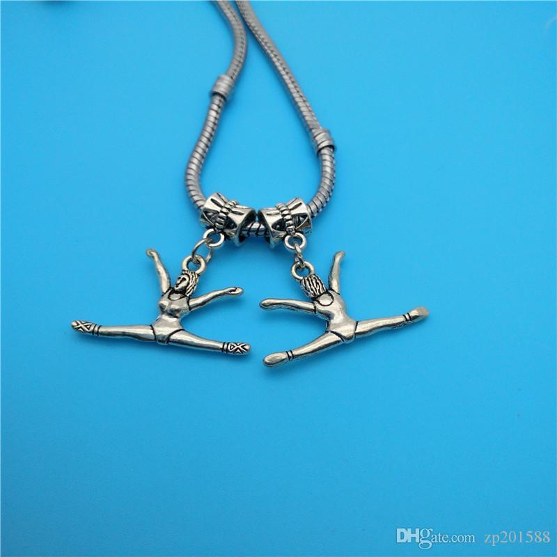 Bijoux mixtes joueur de baseball d'argent athlète de gymnastique tibétaine Charms Faire Bracelet Collier Accessoires de mode Bijoux populaires