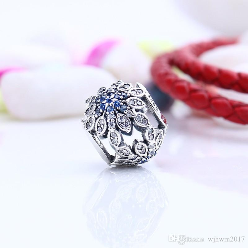 Authentic 925 Sterling Silver Christmas Snowflake Openwork Charms Blue Crystal Flower Beads For DIY Brand Bracelets Jewelry Making