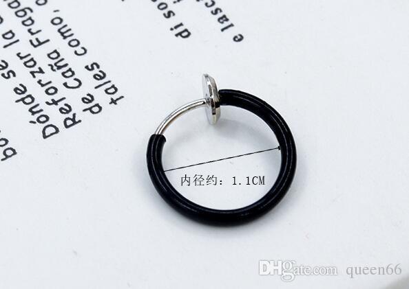 Sahte dudak yüzük piercing jelwery sahte küpe Minimalist küçük tek daire Küpe Kore moda tek olmayan deldi kulak klip burun halkası