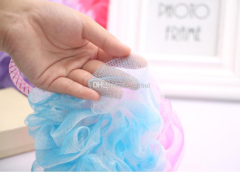 Novo banho bola escovas de banho corpo esfoliar sopro esponja malha net doces cores esponja de malha escova de banho macia esponjas purificadores wx9-153