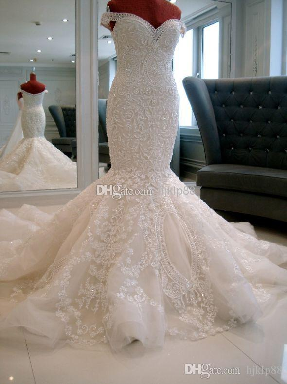 ec1a1168fff 2016 New Arrival Michael Cinco Sheer Backless Garden Wedding Dresses  Mermaid Off Shoulder Elegant Ivory Lace Appliques Sequins Bridal Gowns  Bridal Wedding ...