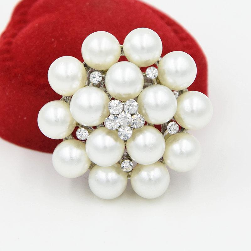 Ton argent de haute qualité imitation cristaux de perles Jolie fleur broche Bouquet de mariage mariée broche dame fête vêtements bijoux accessoires