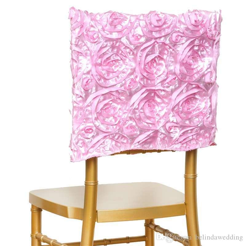 New Spandex Design 3D Satin Rosette Lycra Chair Cover Hotel Restaurant Weddings Banquet Home Decoration Decor Christmas Chair Covers