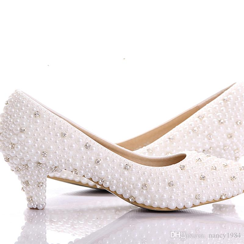 Custom Make Large Size Small Heel Bridal Wedding Shoes White Pearl Low  Heels Shoes Celebrity Party Prom Dancing Shoes Wedding Shoes Size 9 Wedding  White ... 601627da68ee