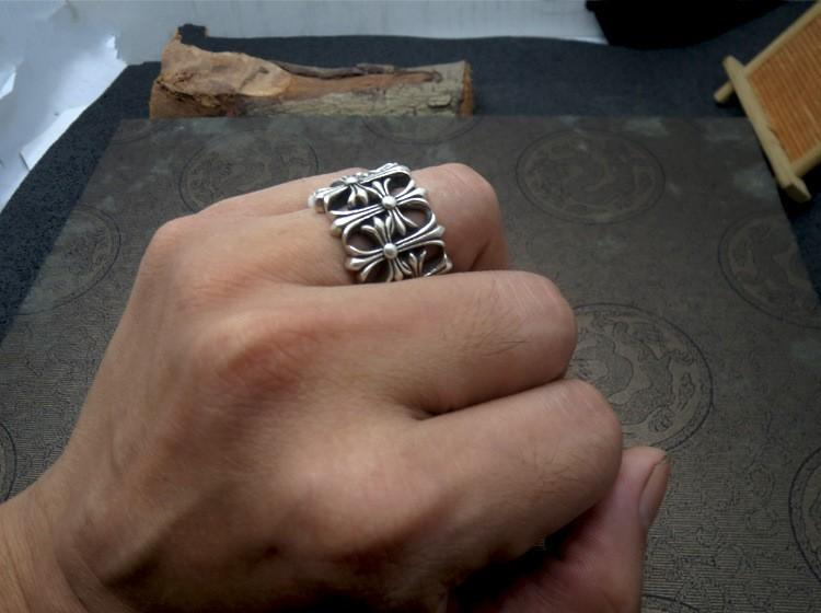 925 cruz de prata esterlina refere-se à moda do anel de chapa anel largo macho poderoso