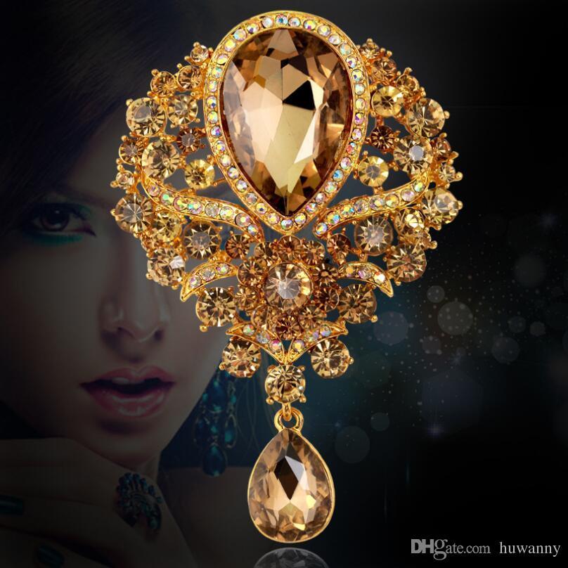 f6b1da58455f6 Gold Brooches Pins For Women Girl Gift Hot Sale Rhinestone Flower Brooch  Shawl Ladies Wedding Dress Buckle Free Shipping 0419WH
