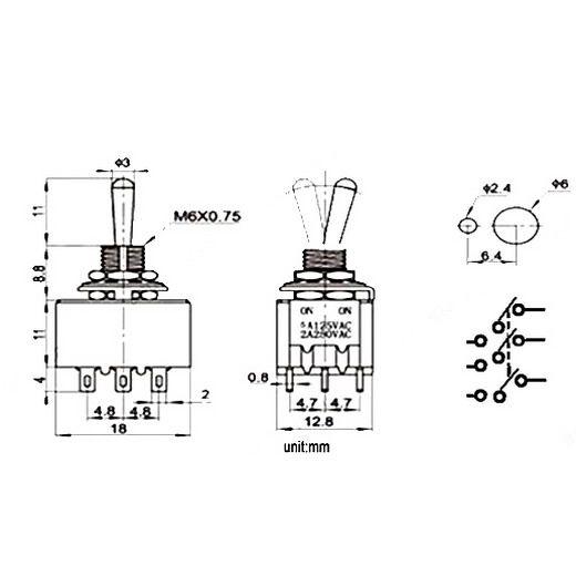 Mini interruptor de palanca de 12 pines, 1 pz 4PDT 2 posiciones ON-ON 2A250V / 5A125VAC MTS-402 B00021 BARD