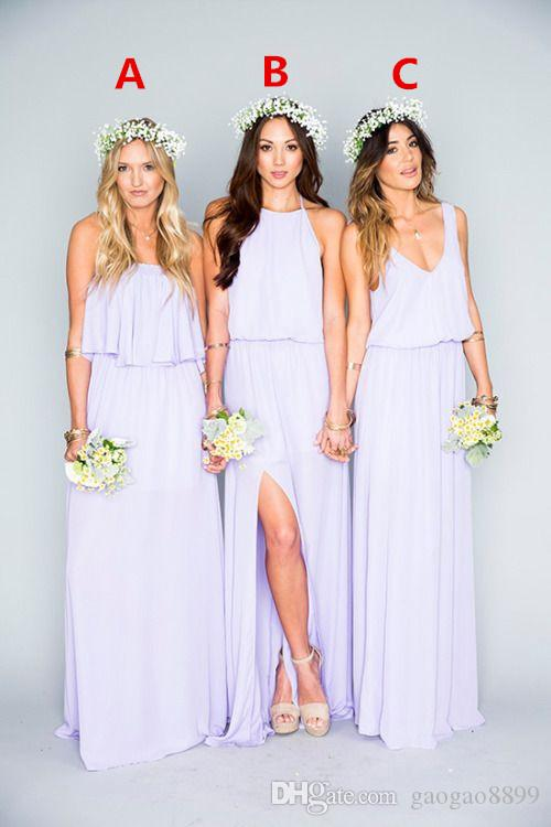 2019 hermosa lila vestidos largos de dama de honor volantes Mumu bohemio piso de longitud verano boda de la boda vestidos de noche vestido de dama de honor
