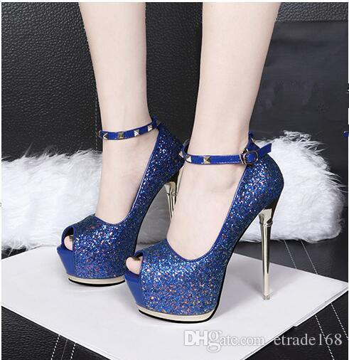 Women's high-heeled shoes A word cingulate fashion Ultra high with Waterproof Taiwan club sexy fish's mouth sequins Fine with Women's shoes