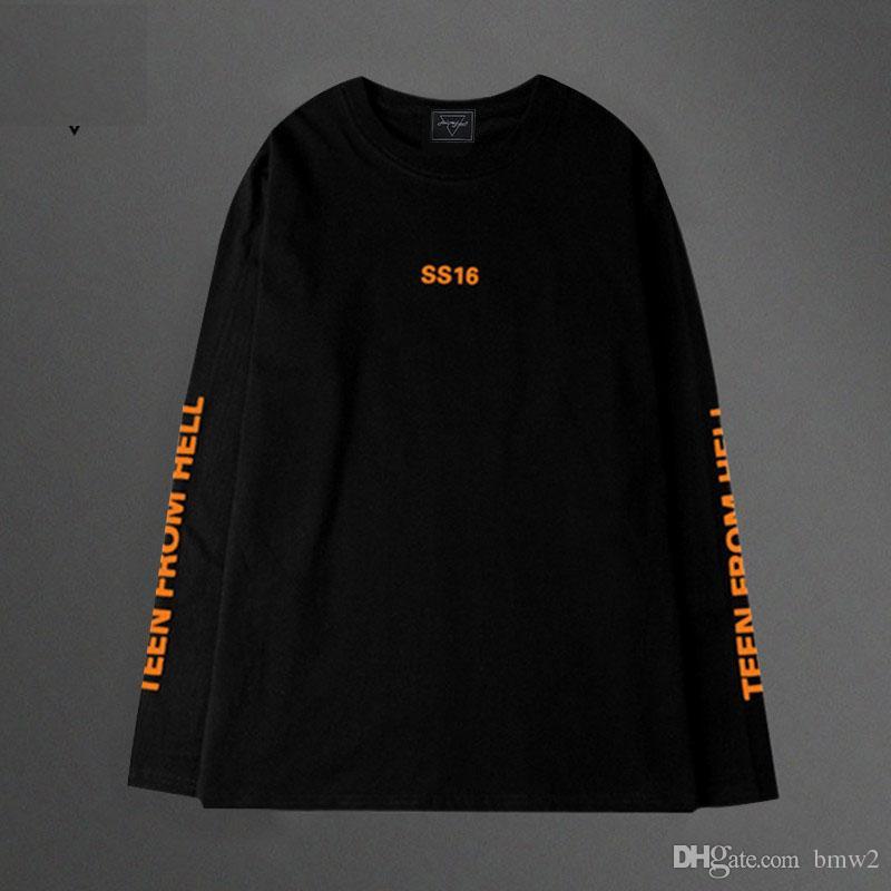 T Shirt Men Korea Vintage Orange Harajuku Letter Oversize Long