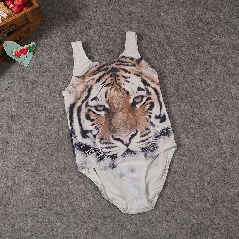원피스 아이가 호랑이 수영복 3D 타이거 프린트 수영복 여자 브랜드의 새로운 아이 동물 수영복 여자 수영복 여자 수영복