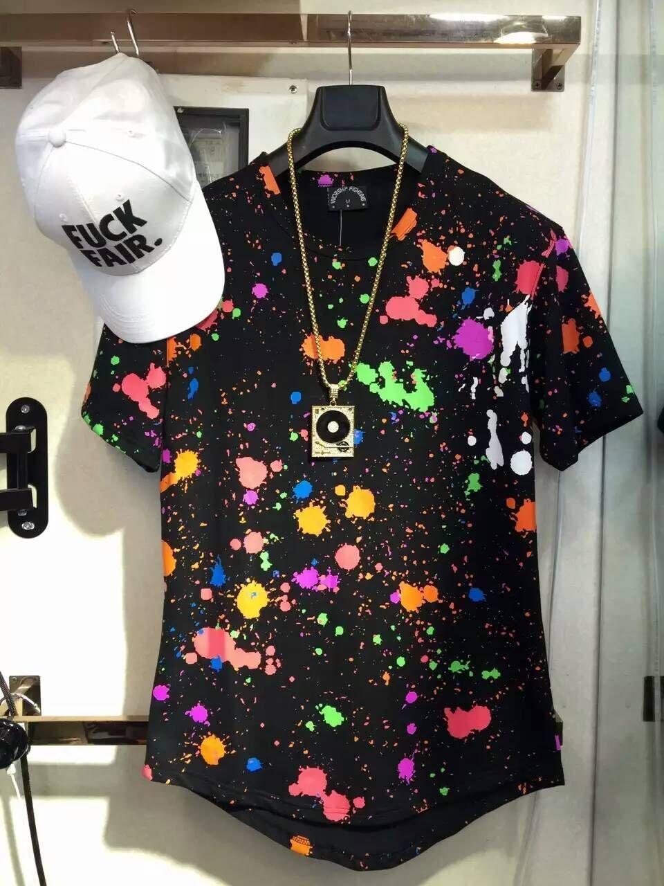 T shirt design hip hop - New Fashion Men Splash Ink Destroy Broken Short Sleeve T Shirts Hole Design Hip Hop Mens Streetwear Extended T Shirt Interesting Tee Shirts Shop For T