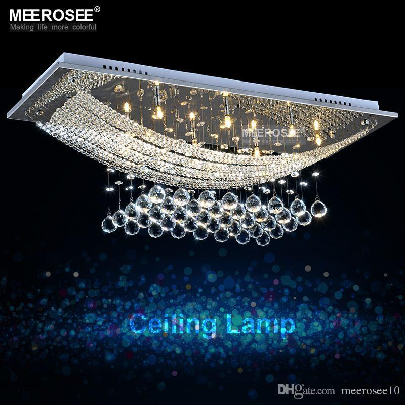 8 lights crystal chandelier light fixture rectangle clear crystal 8 lights crystal chandelier light fixture rectangle clear crystal lustre lamp g4 for dining room meeting room md5018 chandelier chain swag chandelier from aloadofball Images
