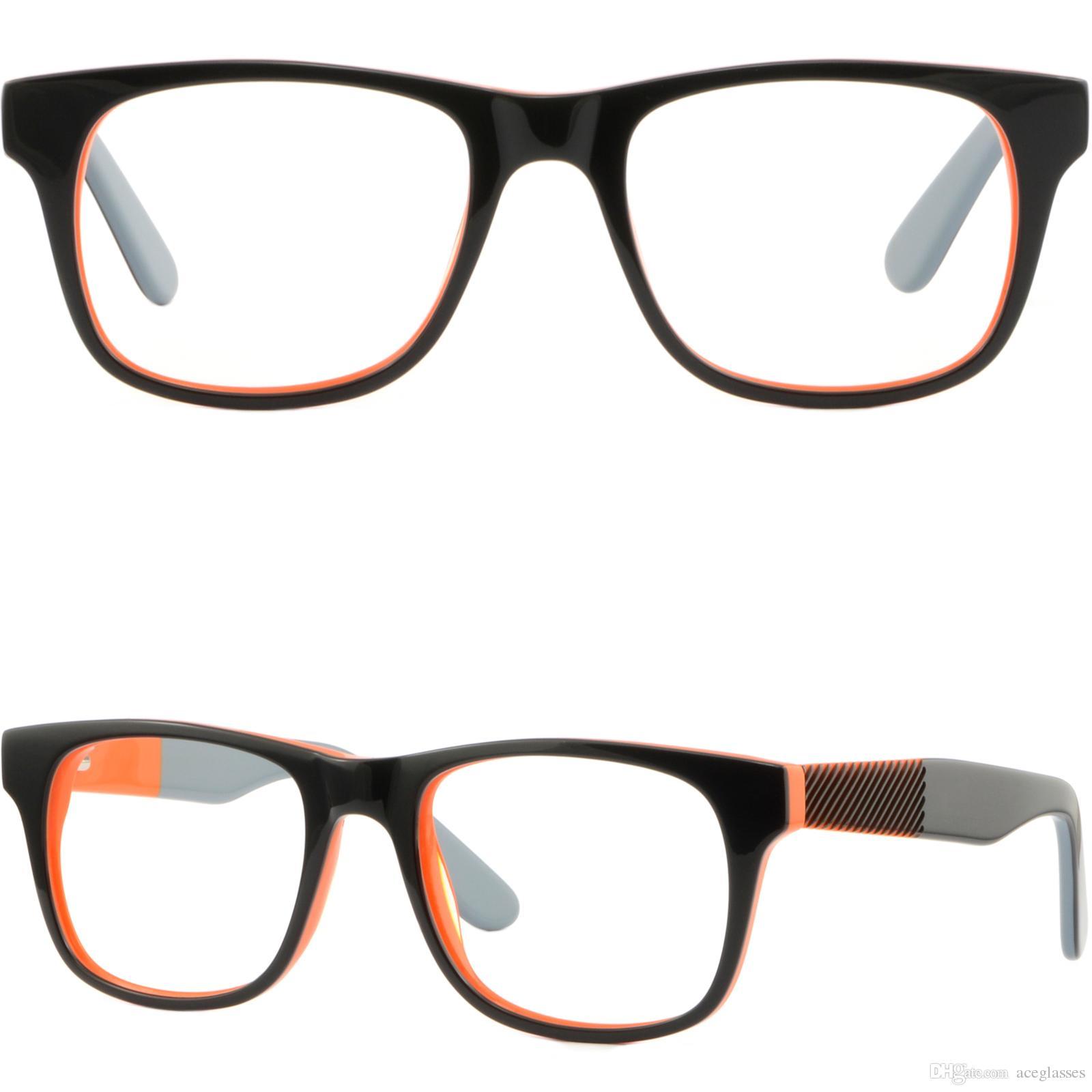 Cornici per occhiali da vista rettangolari in plastica nera 5eq3dAWujd