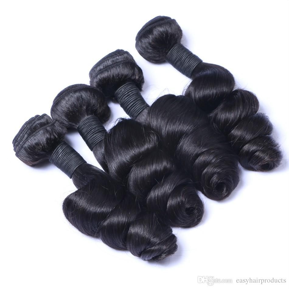 G-EASY Peruvian Loose Wave Human Hair Weave Bundles With Silk Base Lace Frontal Closure 13x4 Natural Black DHL FREE