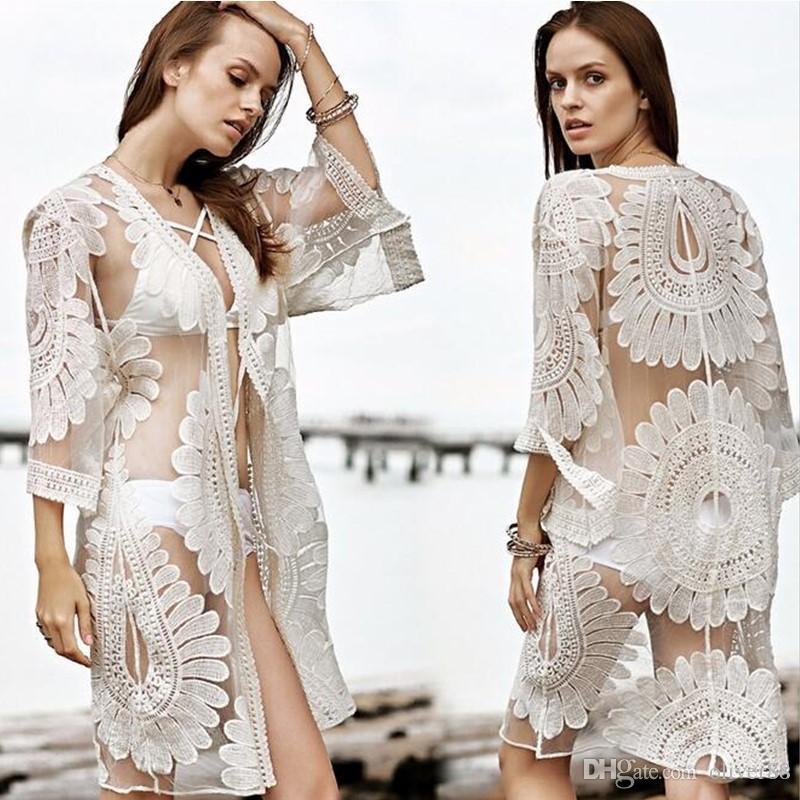 3924ccc2a0b 2019 2017 New Bikini Beach Cover Ups Women Sexy Summer Lace Cardigan  Blouses Vacation Shirts Hollow Out Crochet Bohemian Beachwear Swimwear Tops  From ...