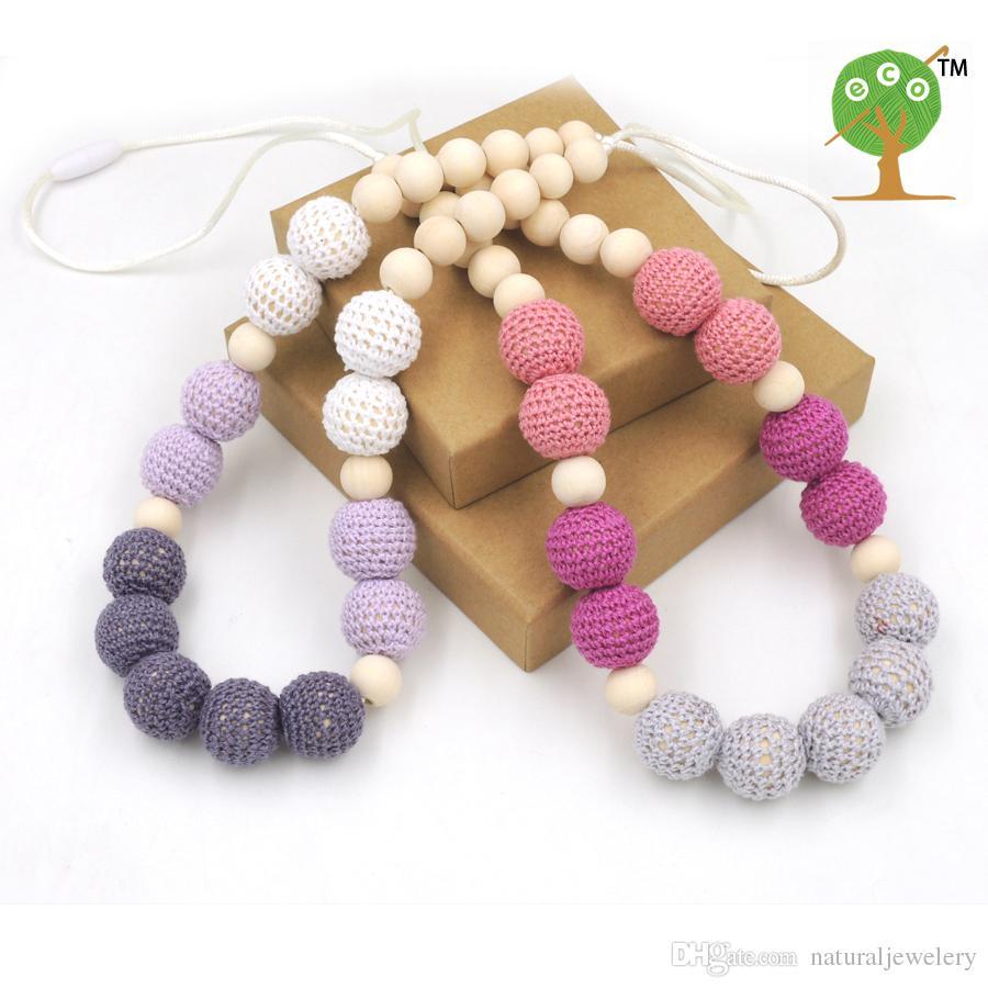 SALE safe STATEMENT necklace SHADE Grey crochet beads wooden Crochet Nursing teether baby toy EN32