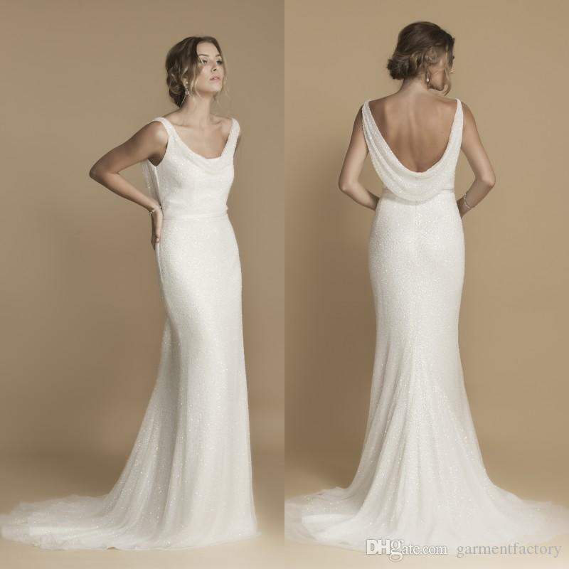 Cowl Neck Back Wedding Dresses: Greek Goddess Cowl Back Wedding Dress Fall 2016 Mermaid